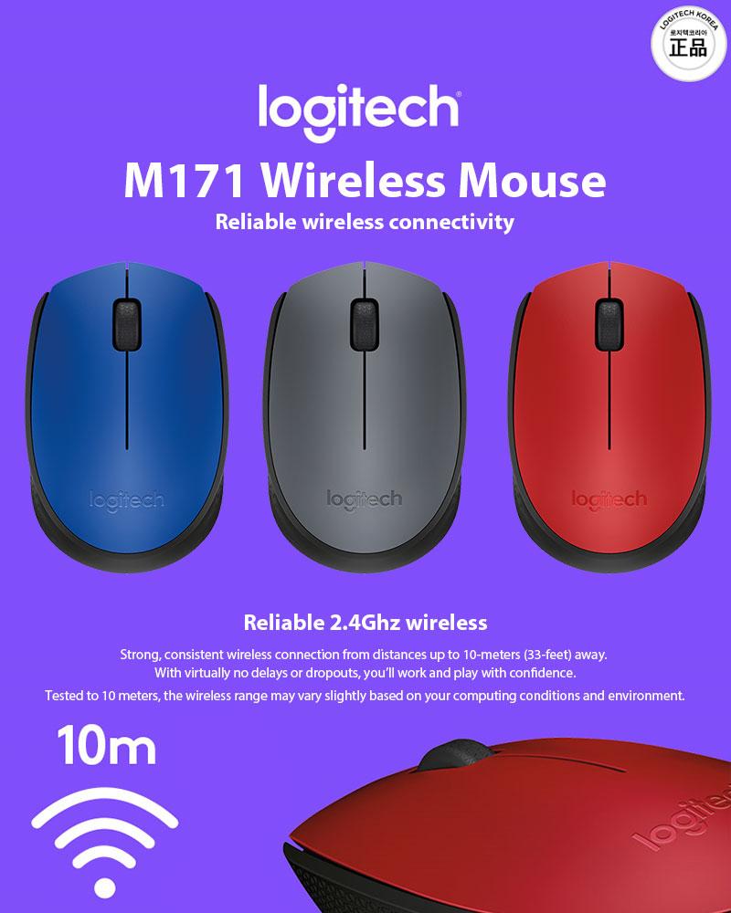 Details about Logitech M171 3 Buttons USB Receiver Wireless Optical Mouse 3  Colors
