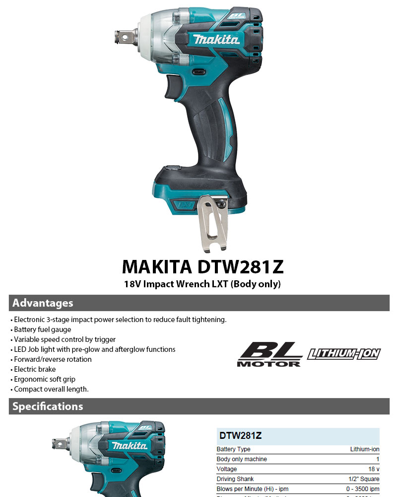 Details about MAKITA 18V Impact Wrench LXT DTW281Z - Bodyonly